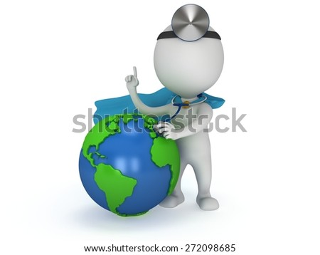 World health day concept with earth globe and superhero doctor with a stethoscope and mirror on his head. 3d render isolated on white. Medicine and healthcare and Earth illustration