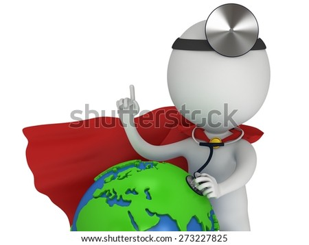 World health day concept with earth globe and superhero doctor with a stethoscope and mirror on his head. 3d render isolated on white. Medicine and healthcare and Earth illustration - stock photo