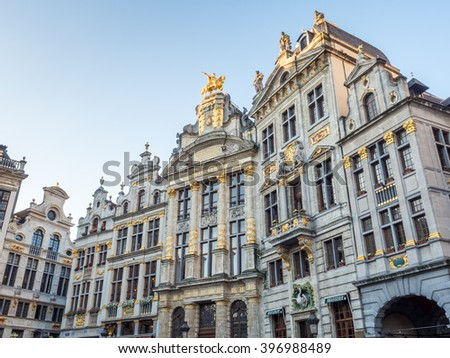 World heritage old and classic buildings in Grand Place, center square, in Brussels, Belgium, with morning light