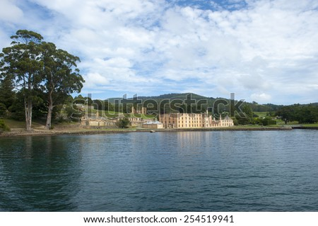 World Heritage Site of former Port Arthur Penal Settlement on Tasmania, Australia, with ruins of prison and other buildings, with view over harbour, blurred background and copy space. - stock photo