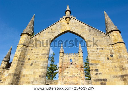 World Heritage Site of  Port Arthur Convict Museum Settlement in Tasmania, Australia, with ruins of historic church building, tourist  destination. - stock photo