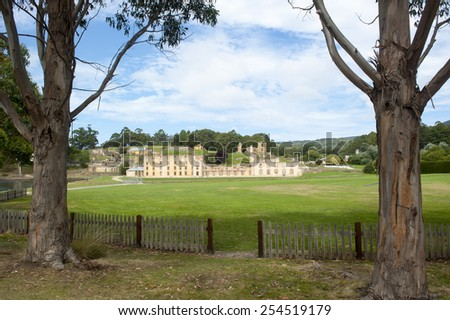 World Heritage Site of  Port Arthur Convict Settlement in Tasmania, Australia, with ruins of prison and other historical buildings, tourist attraction and destination. - stock photo