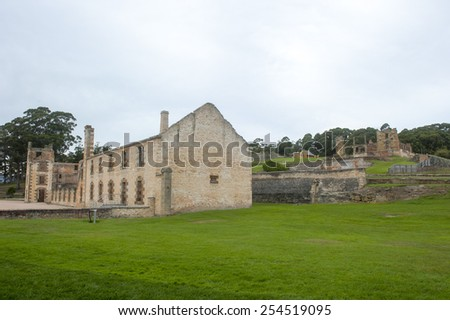 World Heritage Site of  Port Arthur Convict Settlement Museum in Tasmania, Australia, with ruins of prison and other historic buildings, tourist attraction and destination. - stock photo
