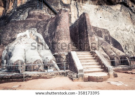 World Heritage Site Sgiriya or Lion rock. Panorama - stock photo