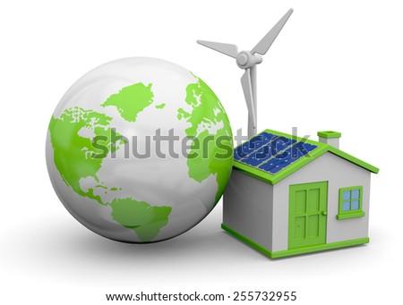 World, house and renewable energy - stock photo