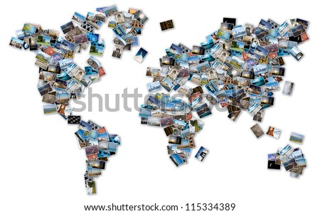 World image made by stack of travel photos from the world. - stock photo