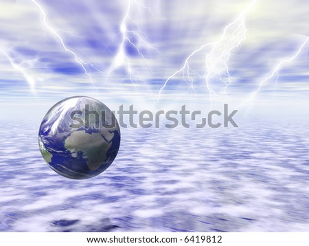 World in a cloudy sky with lightnings - stock photo