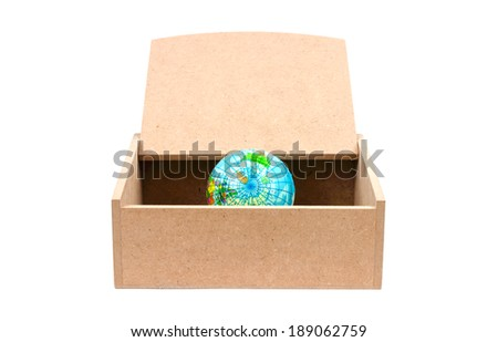 World in a wooden box on a white background. - stock photo