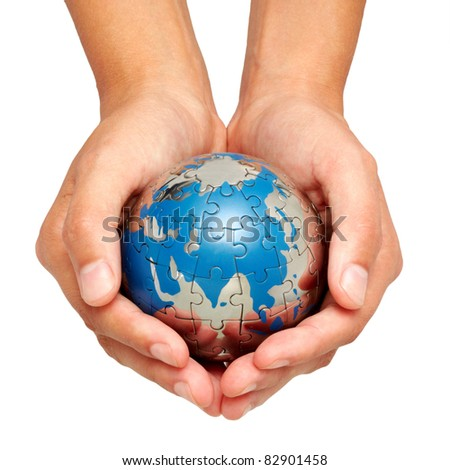 World in hands - stock photo