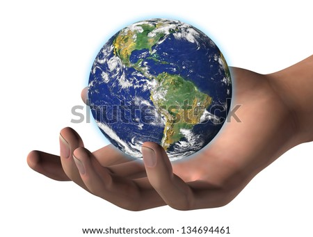 WORLD IN HUMAN HAND - 3D - Elements of this image furnished by N
