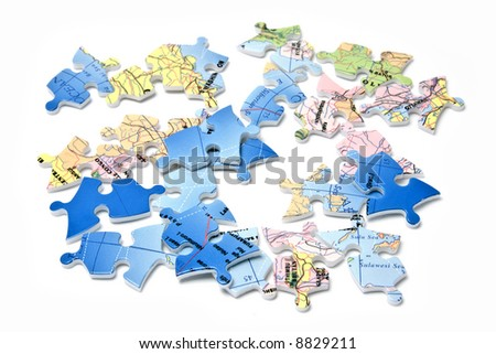 World in pieces isolated over white background - stock photo