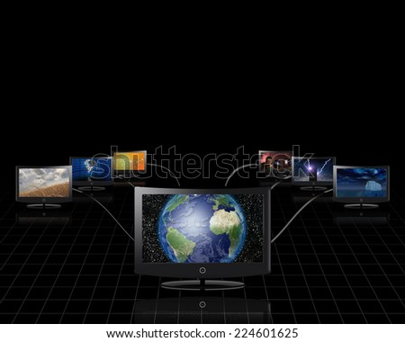 World in screen connected to more Elements of this image furnished by NASA - stock photo