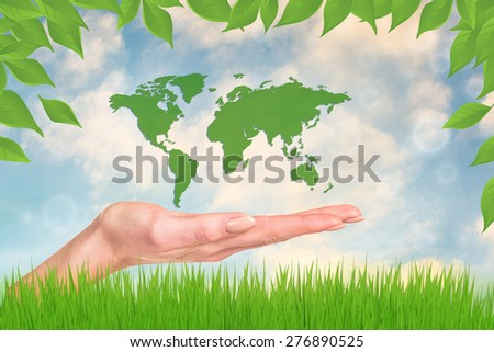 World in your hands. Abstract Green Grass