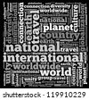 world info-text graphics and arrangement concept on black background (word cloud) - stock photo