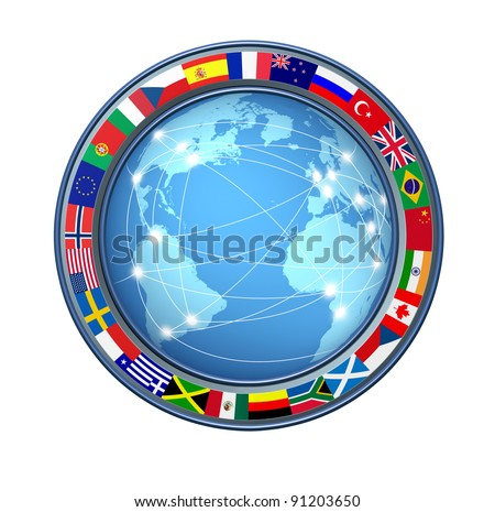 World Internet connections with ring of global flags as an international communications technology theme including countries from multiple continents on a white background connected sharing data. - stock photo