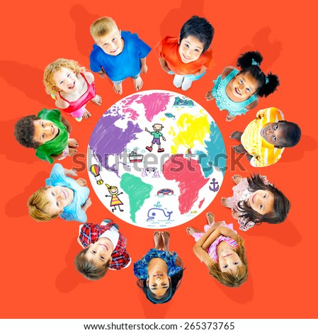 World Kids Journey Adventure Imagination Travel Concept - stock photo