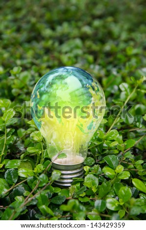 World lamp bright on green nature,Asia - stock photo