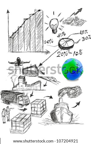 world logistic with drawing idea - stock photo