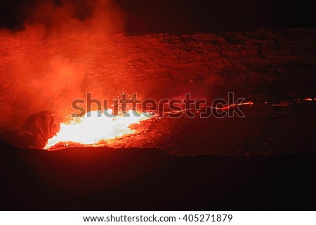 World longest existing burning lava lake dating from 1906 in the Erta Ale-Smoking Mountain basaltic shield volcano at 613 ms.high-elliptic crater of 0.7 x 1.6 km. Danakil desert-Afar region-Ethiopia.