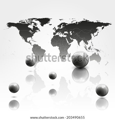 World mab background with 3D spheres illustration. - stock photo