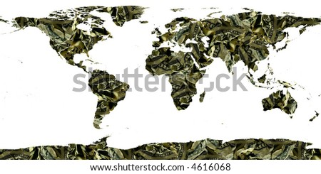 world made of dollar bills - stock photo