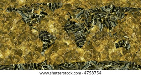 world made of dollar bills & coins - stock photo