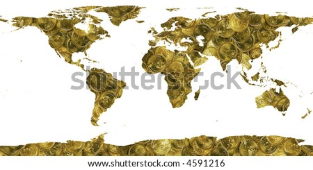 world made of gold coins - stock photo