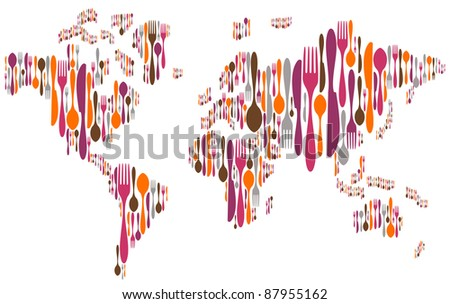 World made with forks, knives and spoons silhouettes on different sizes and colors. - stock photo