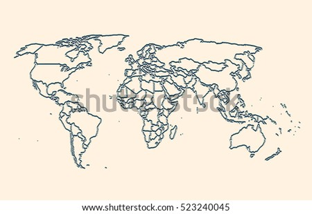 World map outline country graphic vector vectores en stock 582504274 world map gumiabroncs Images