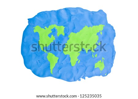 World map abstract handmade - stock photo