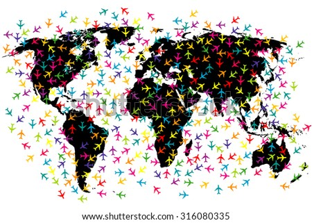 World map airline flights - stock photo