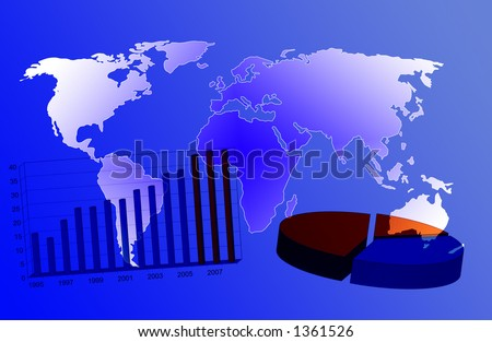 world map and business charts - stock photo