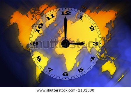 World map and clock illustration. Motion background.