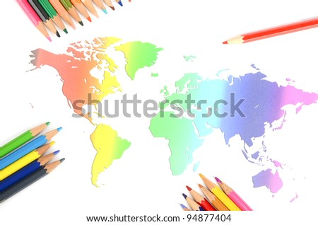 World map and color pencils - stock photo