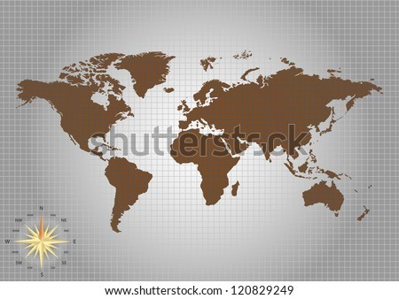 World map and compass of vertor - stock photo