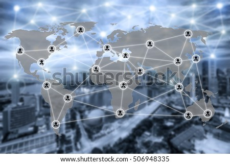 World map and connection social network communication icon with blurr city in background. Social network concept.