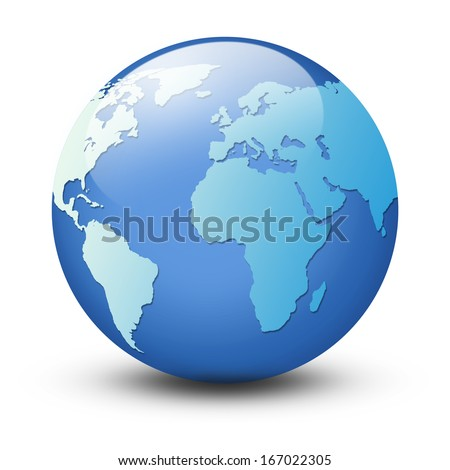World map and globe  isolated on white background - stock photo