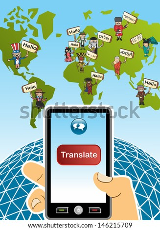 World map and hand with smartphone translation concept background. Vector illustration layered for easy editing. - stock photo