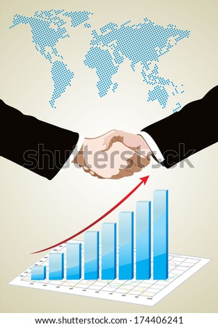 World Map and Information Graphics, handshake isolated on business background