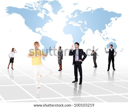 World map and people as symbol of social network - stock photo