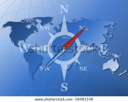 World map and stylized compass