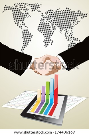 World Map and Tablet showing a spreadsheet and a paper with statistic charts, World Map and Tablet showing a spreadsheet and a paper with statistic charts, handshake isolated on business background  - stock photo