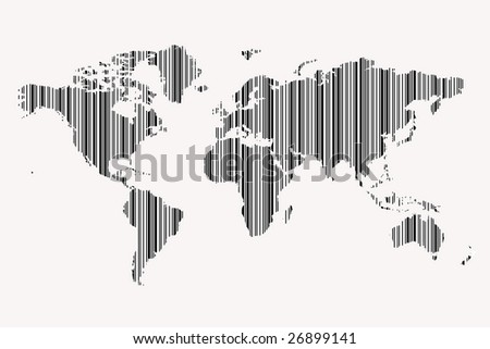 world map as bar-code - stock photo