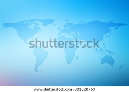 World map atlas on blur bright blue gradient sea background:abstract blurry teal white blended colorful with lens rays flare light wallpaper.beautiful planet map wallpaper for banner,template concept.