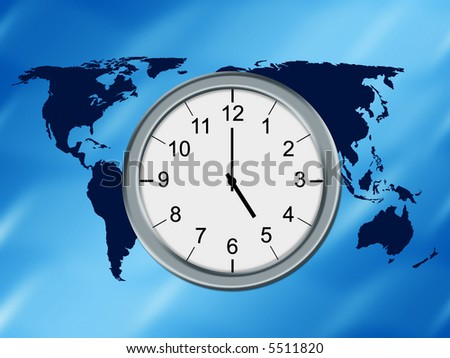 World map background and analog clock - stock photo