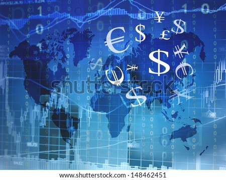 world map background with currency symbols - stock photo