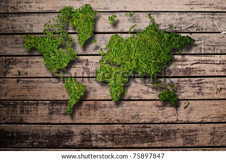 World map background with grass field and wood texture. - stock photo