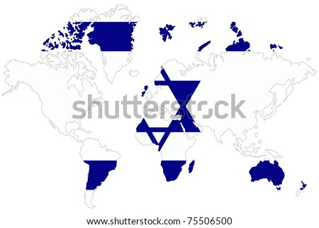 World map background israel flag stock illustration 75506500 world map background with israel flag gumiabroncs Gallery