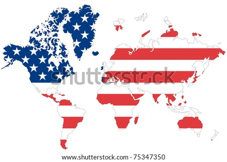 Illustrated Map World Flag Malaysia Stock Vector - Usa on a world map