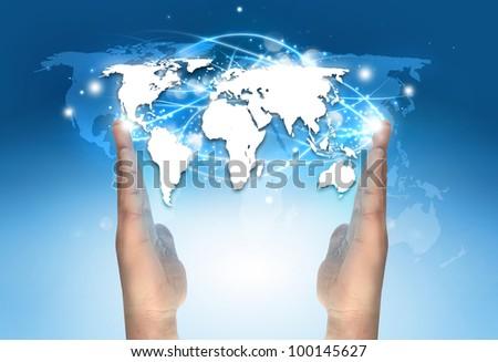 World map between hands stock photo 100145627 shutterstock world map between hands gumiabroncs Images